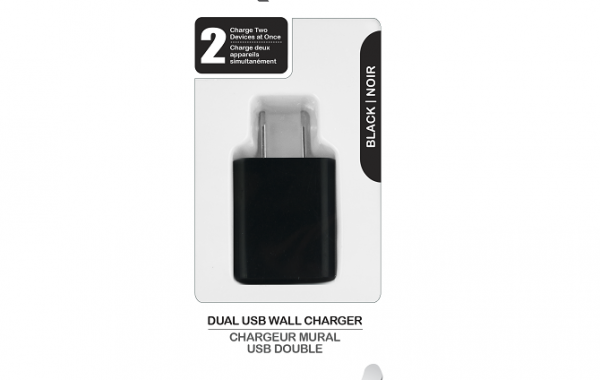 Colour Blast Wall Charger Dual USB Port 2.1amp – Black