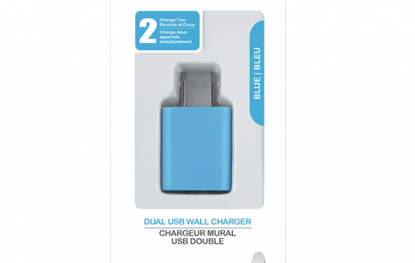 Colour Blast Wall Charger Dual USB Port 2.1amp – Blue