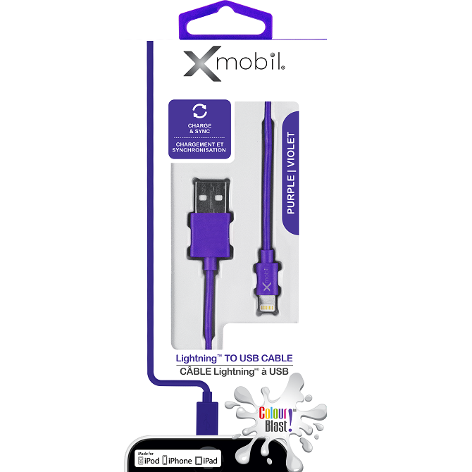 Colour Blast Charge & Sync Lightning Cable MFI – Purple
