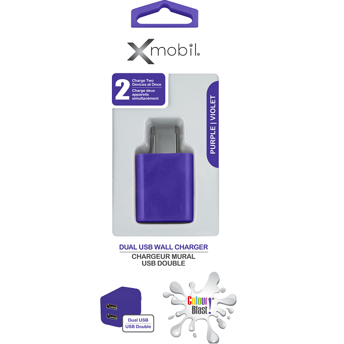 Colour Blast Wall Charger Dual USB Port 2.1amp – Purple